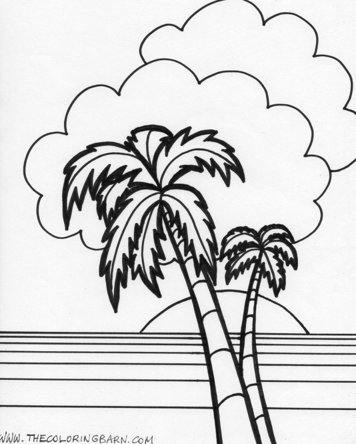 island sunset coloring page   Beach ocean art, Coloring ...