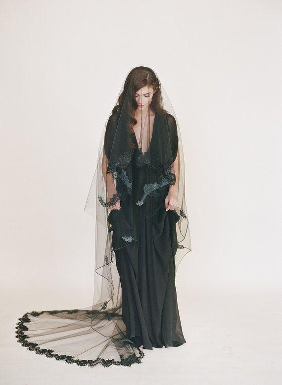 Black Chantilly Lace Veil Goth Lace Bridal Veil Black