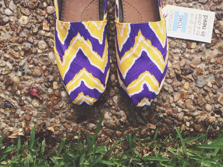 LSU - CHEVRON TOMS. High School, College, Pro Teams by pinstripesNparasols on Etsy https://www.etsy.com/listing/173353252/lsu-chevron-toms-high-school-college-pro