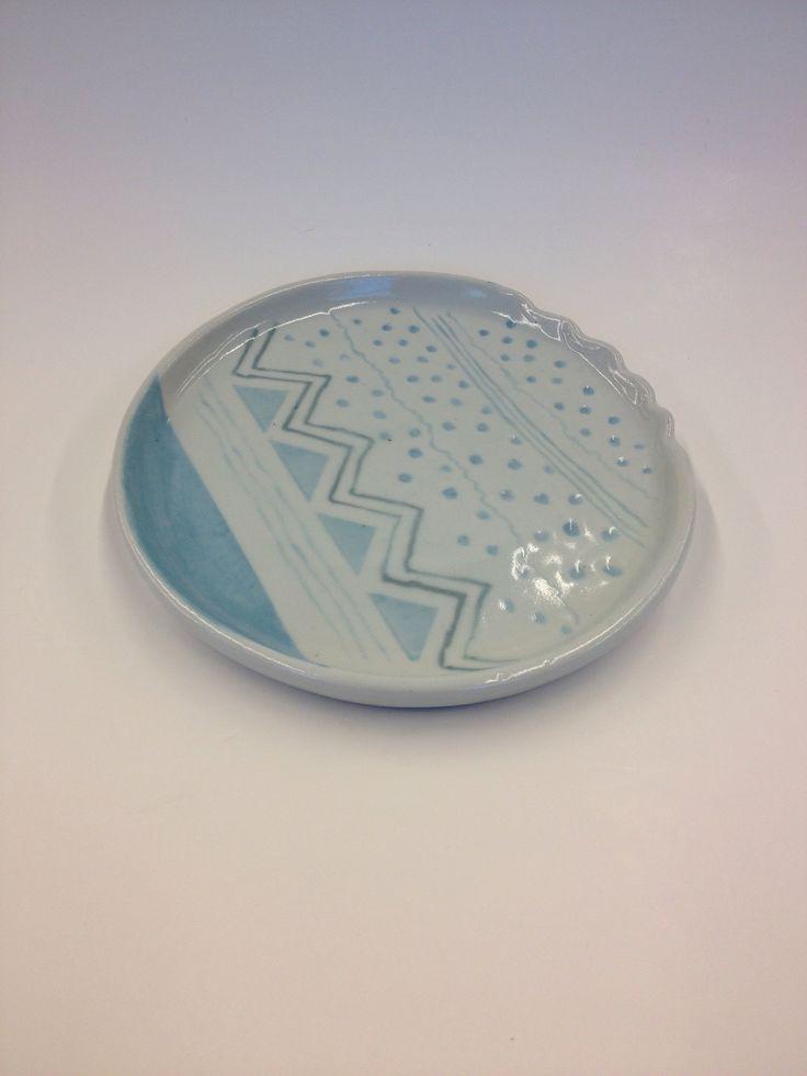 Ceramic Dessert Plate #pattern #pottery #ceramics #porcelain #geometric #handmade