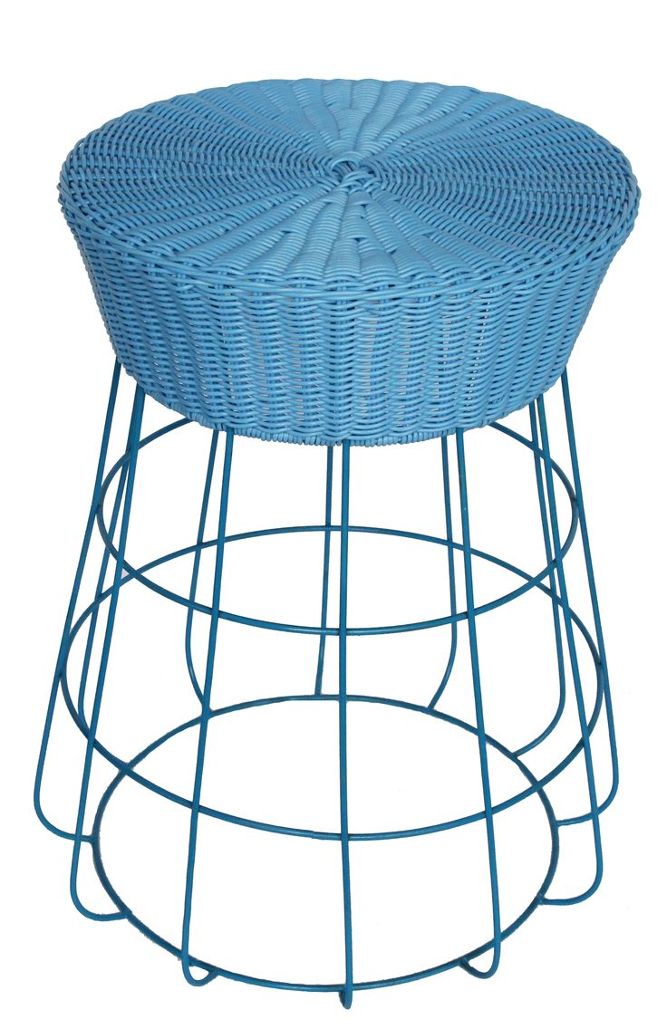 NEW IN: Circular rattan and wire stools in BLUE - waterproof with waterproof cushions. From $140RRP AUD.    http://www.philbee.com.au/decor/blue-iron-chair-with-hand-woven-rattan.html