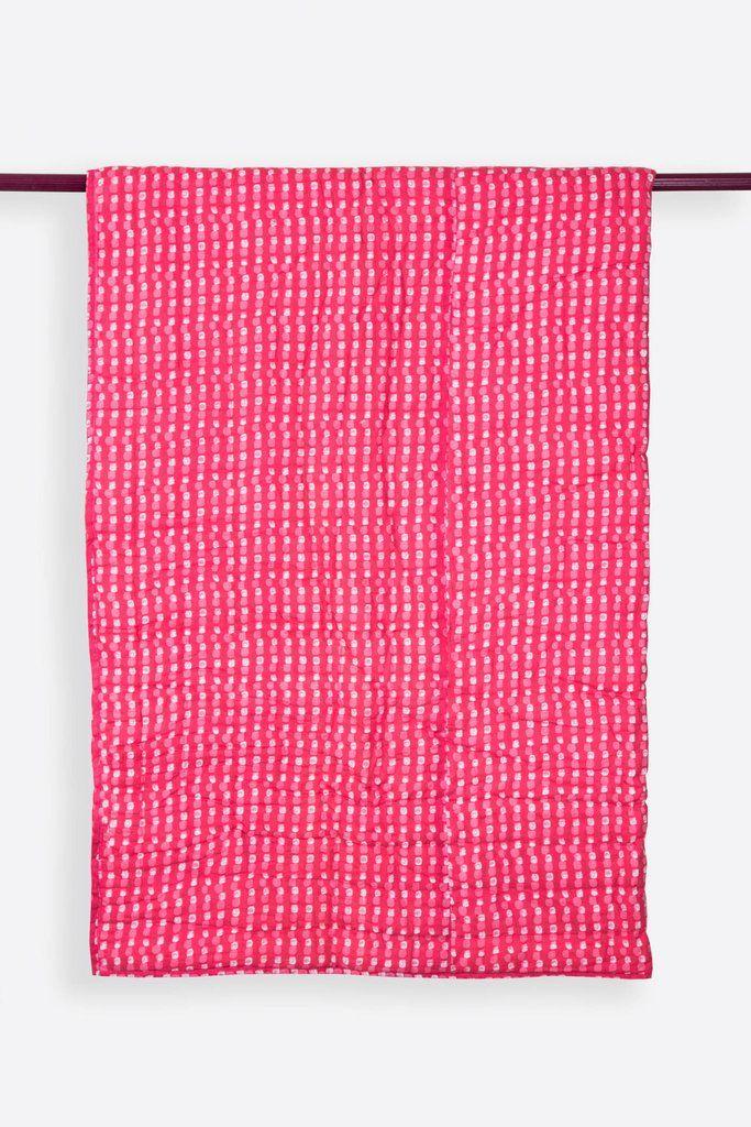 Carreaux Rose Handprinted Reversible Cotton Handmade Quilt