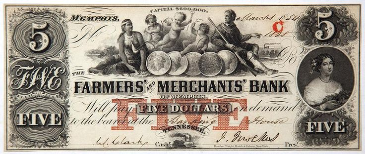 Tennessee Obsolete Currency Farmers and Merchants Bank Five Dollar Note