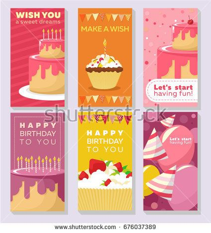 Vector set of greeting cards for birthday