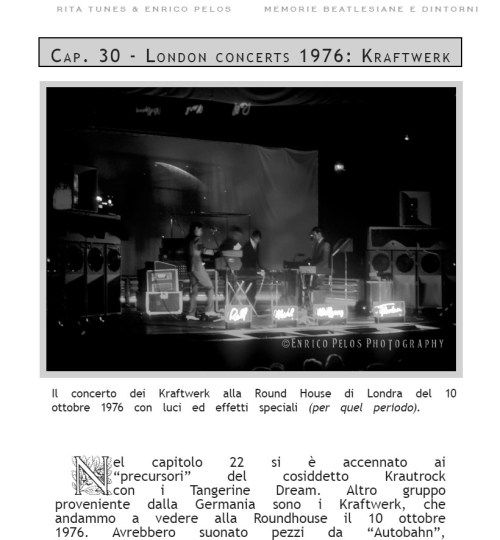 """We went to see the Kraftwerk at the Round House concert in London on October 10, 1976.......  ON PAGE 98 OF """"MEMORIE BEATLESIANE e dintorni"""" by Rita Tunes & Enrico Pelos #Roundhouse #Kraftwerk #electronicmusic #London #Autobahn #Radioactivity #TransEuropeExpress #krautmusic #TangerineDream if you want to know more read the book at the following links  ebook http://goo.gl/vLXbiA all in colors http://goo.gl/0gp2FI cover in color and BW photos inside http://goo.gl/1dmYNS…"""