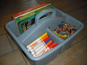 Organizational idea for storing crayons, markers, and coloring books
