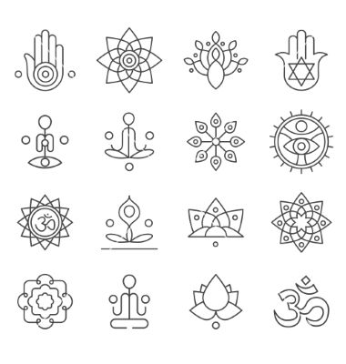 Yoga icons and line badges graphic design vector