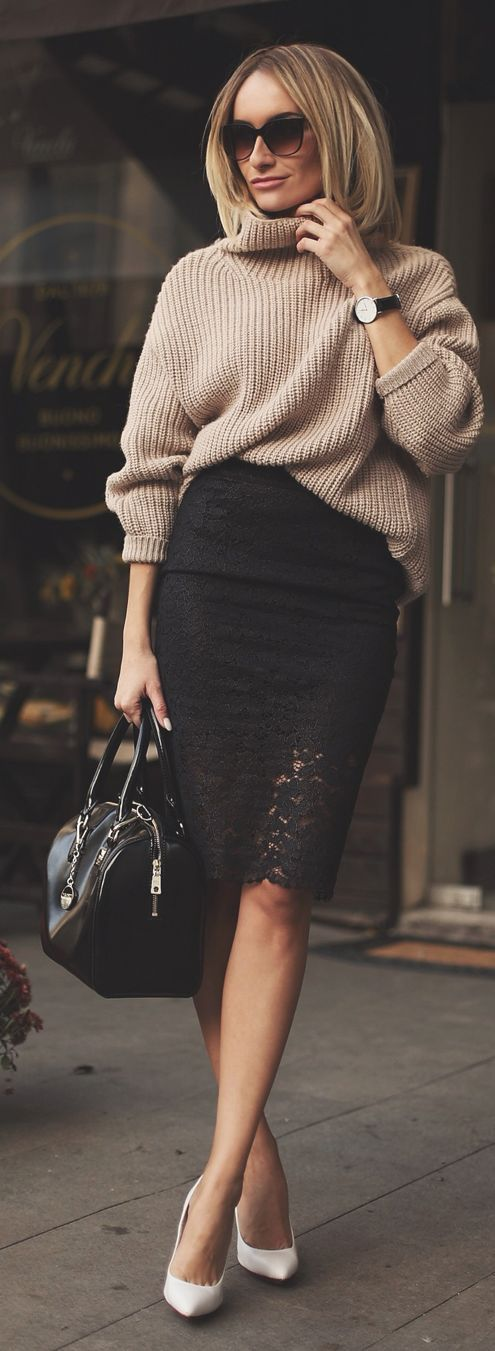 Love the skirt - Guess By Marciano Black Lace Hem Pencil Midi Skirt by Rock & Roses Spring summer autumn winter