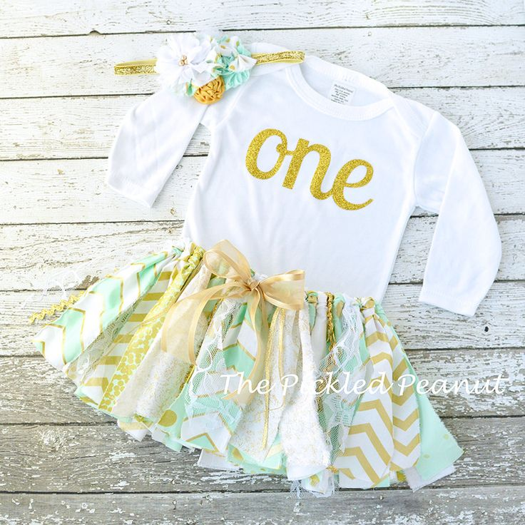 Mint green gold 1st birthday outfit baby tutu baby skirt sea foam mint gold tutu shabby chic - Shabby chic outfit ideas ...