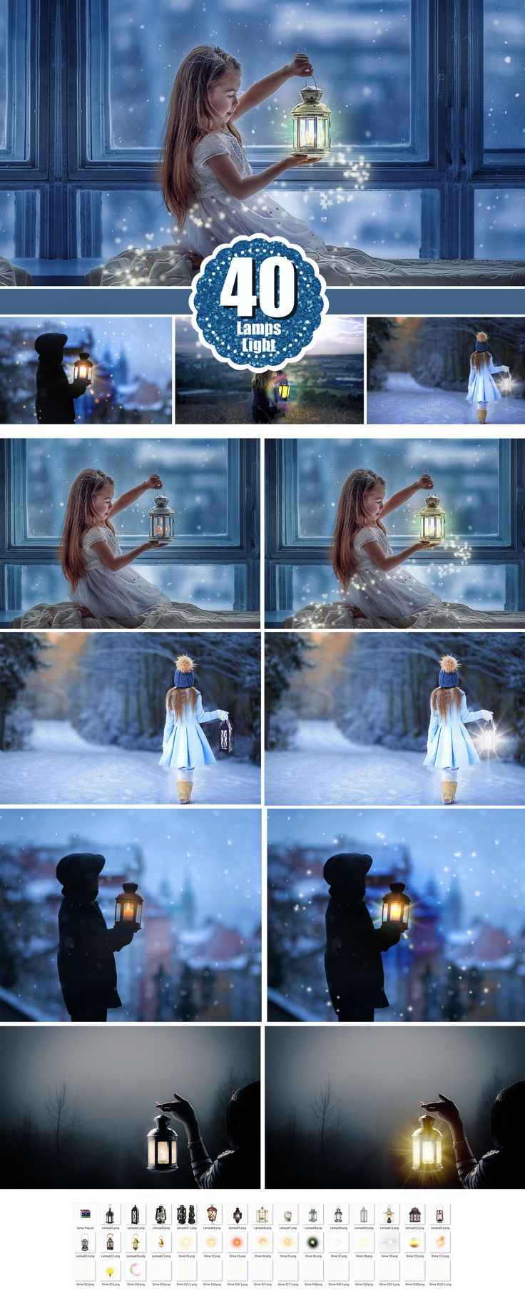 Light overlays, kerosene lamp, candle lamps, sunburst, magic fairy fantasy light lighting effects, Photoshop Overlay