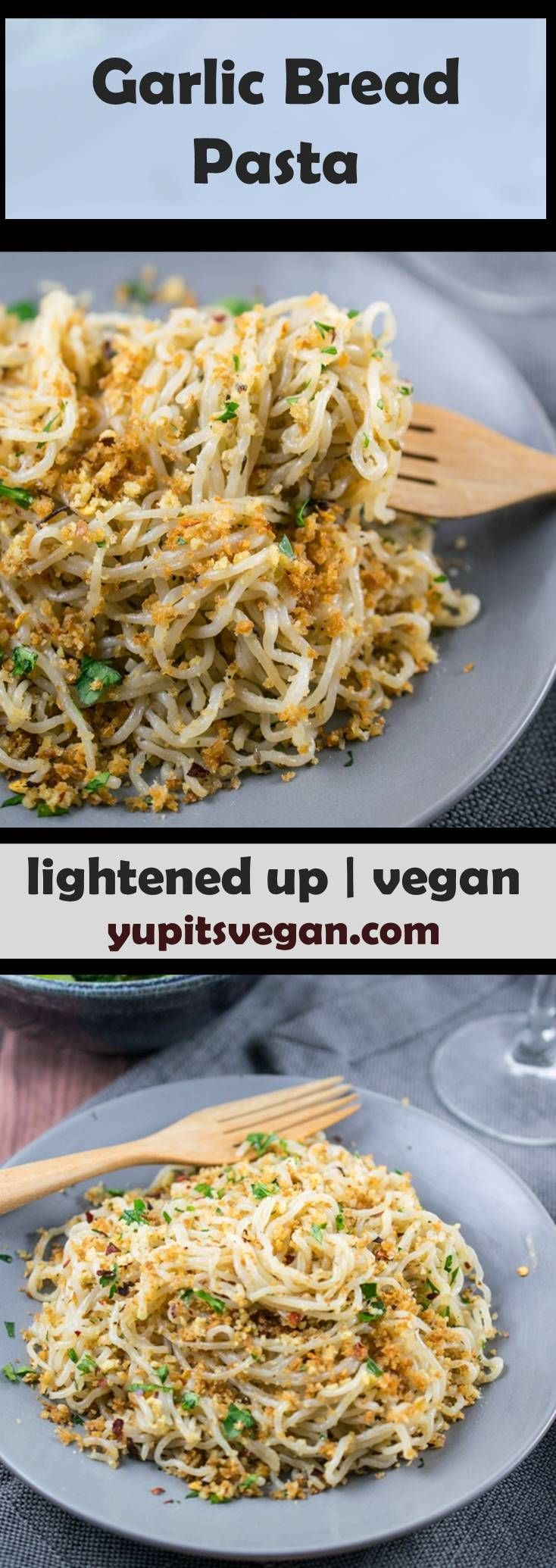 Garlic Bread Pasta: Tender spaghetti tossed with crispy garlic-infused breadcrumbs in a light olive oil sauce. The flavors of garlic bread, but lightened up using zero-calorie tofu shirataki noodles! Gluten-free, grain-free option (using walnuts), vegan recipe. via @yupitsvegan