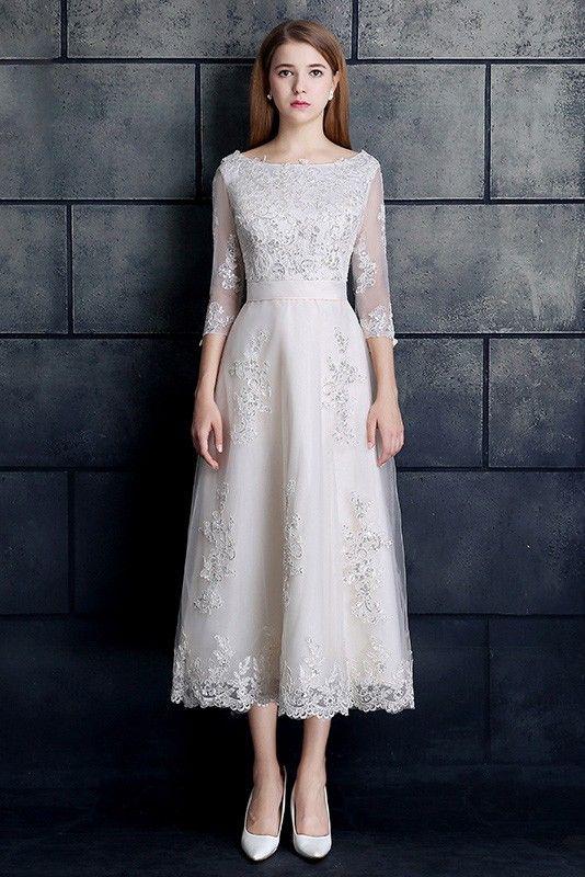 Shop low price vintage tea length lace a-line white wedding dress 3/4 ...