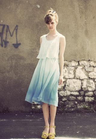 Hand Dip dyed dress with geometric design  £65