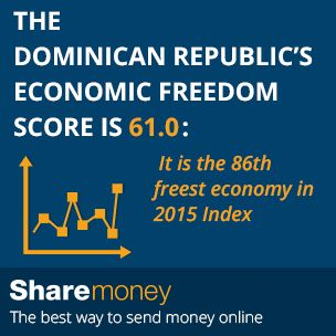 Send money to the Dominican Republic (DR).  Did you know?  The Dominican Republic's economic freedom score is 61.0: It is the 86th freest economy in 2015 Index.