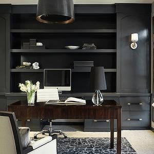 Black Paneled Office - Contemporary - den/library/office - TerraCotta Properties