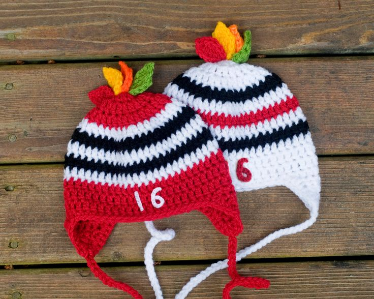 BABY HOCKEY HAT Chicago Blackhawks pacifier included, Crochet Boys Hockey, Hockey Red Black, Hockey Hawk Feathers, Baby Knit Hockey Hat by Grandmabilt on Etsy