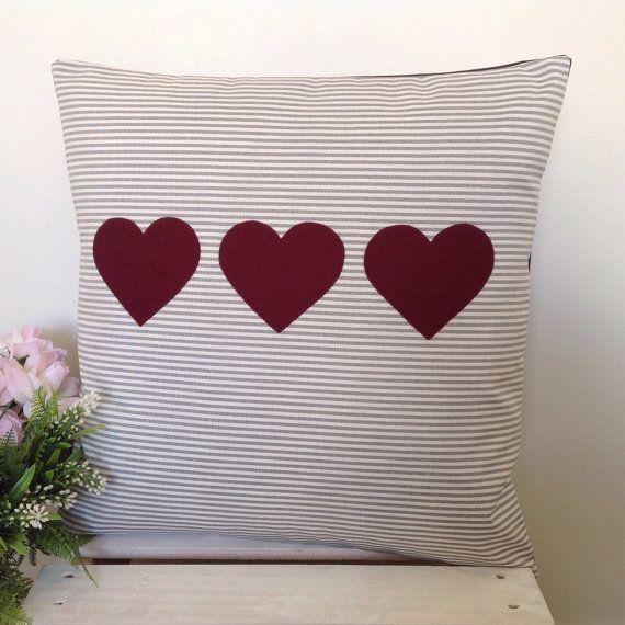 Cushion Cover Grey Stripe Fabric Wine by natandalicreative