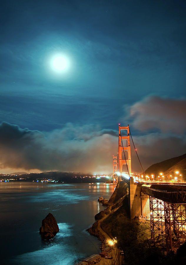 Full Moon and Fog over the Golden Gate Bridge