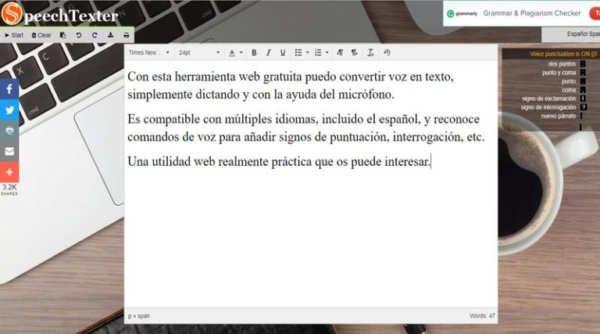 Cada vez existen más, y mejores, herramientas web para convertir dictados de voz en texto que hacen uso de las tecnologías de reconocimiento de voz.En esta ocasión quiero hablaros de SpeechTexter, una aplicación web totalmente gratuita que me ha gustado bastante. Perfecta para convertir a texto cualquier cosa que dictemos con nuestra voz.Esta herramienta es compatible con múltiples idiomas, entre ellos por supuesto también se encuentra el español, y funciona...
