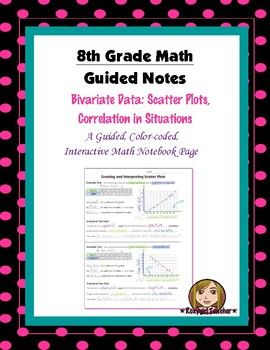 This is an 8th Grade Common Core guided, color-coded notebook page for the Interactive Math Notebook on the concept of Scatter Plots and correlation in situations.