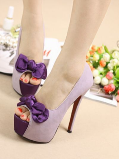 Summer Japanese And Korean Silk Bowknot High Heel Shoes