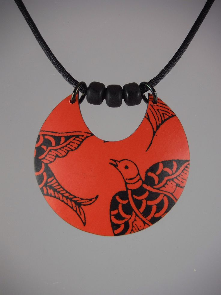 Coral silkscreened polymer clay pendant by Annie Jacobi Jewelry.