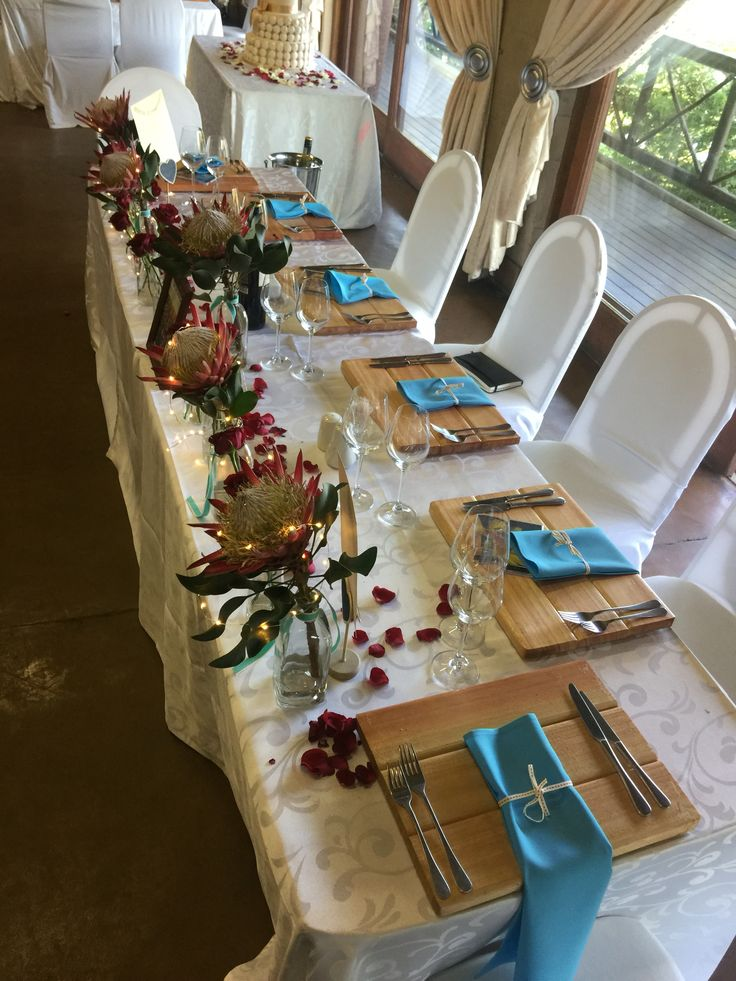Main table red and turquoise