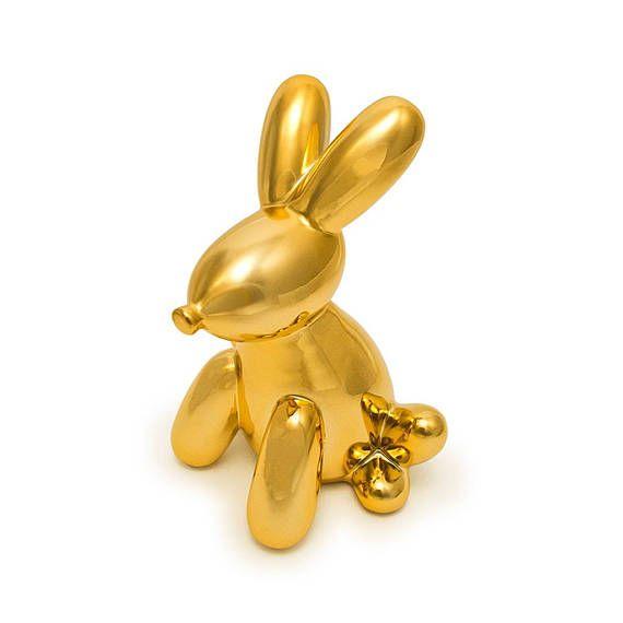 Gold Bunny Balloon Piggy Bank, Bunny Money Bank, Ceramic