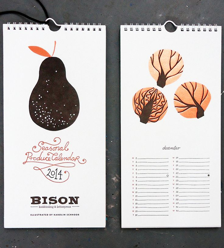 2014 Seasonal Produce Letterpress Calendar by Bison Bookbinding & Letterpress on Scoutmob Shoppe. Keep the chaos to a minimum in the new year with this 2014 produce calendar featuring different in season letterpressed fruits and vegetables.