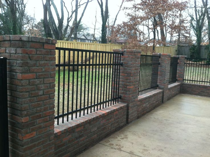 Aluminun Fence With Brick Walls And Columns Creative Stone