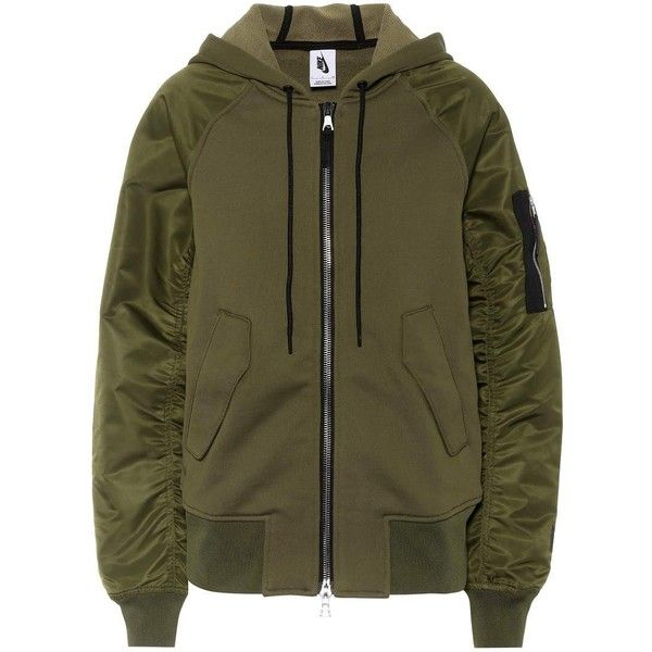 Nike NikeLab Essentials Bomber Jacket (4.758.195 IDR) ❤ liked on Polyvore featuring outerwear, jackets, green, brown bomber jacket, bomber jackets, green flight jacket, nike jackets and green bomber jackets