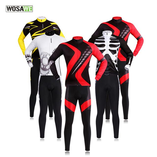 Pro Long Sleeve Cycling Jersey Sets Breathable 3D Padded Sportswear Mountain Bicycle Bike Apparel Cycling Clothing