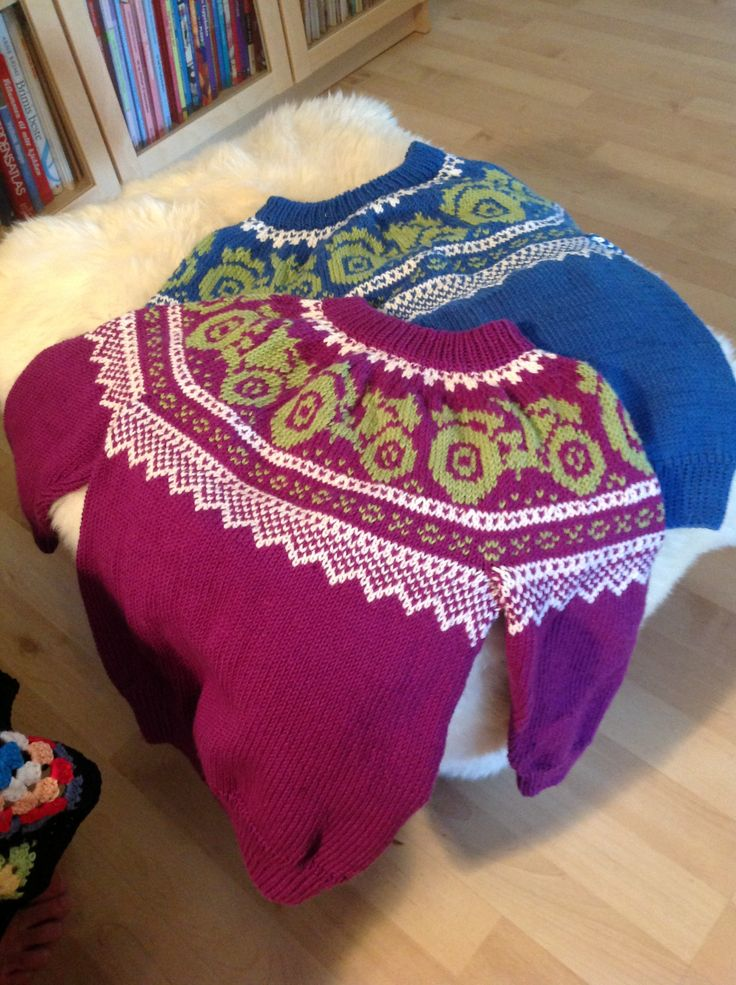Knitted sweaters with a variation on a Marius pattern - Tractor!