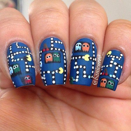 PAC MAN NAILS!!!  #navy #nailart #polish - bellashoot.com