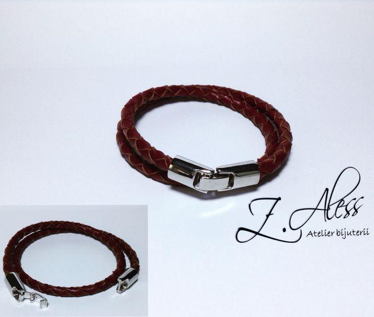 Leather bracelet with zamak accessories by Z.Aless.