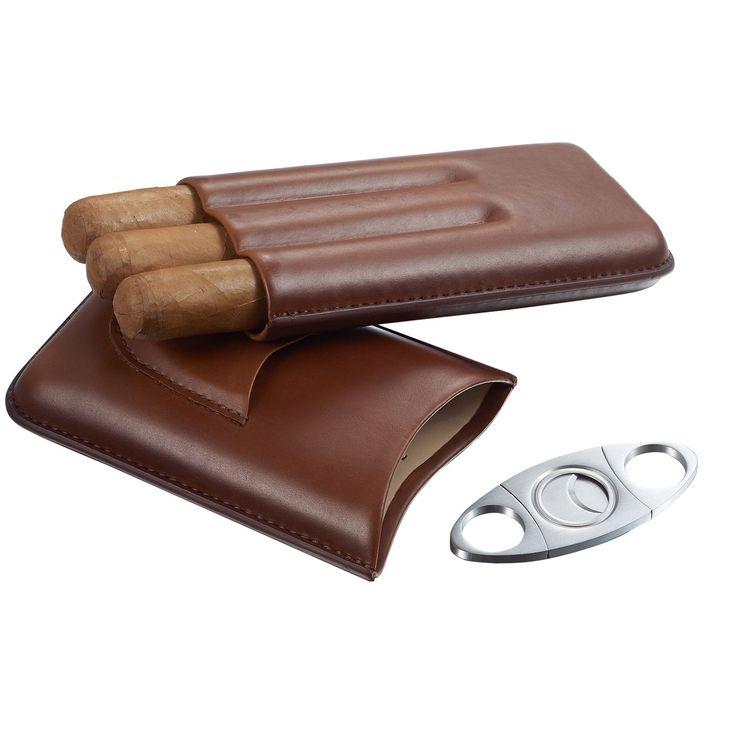 Visol Legend Genuine Leather Cigar Case with Cutter