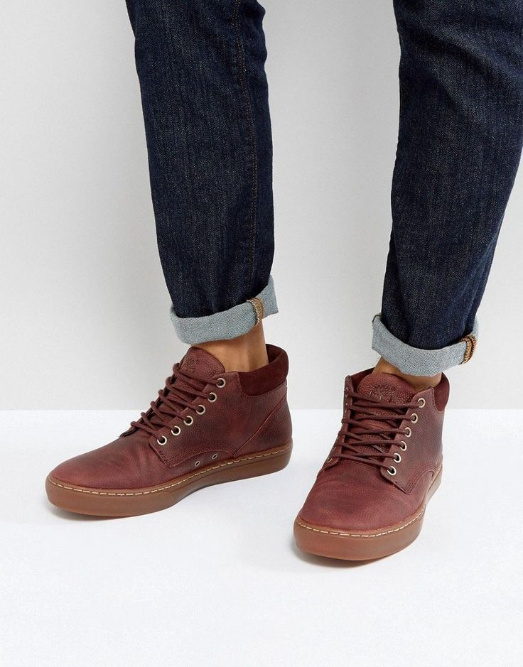 Timberland Adventure Cupsole Grain Leather Gum Sole Chukka Boots - Red