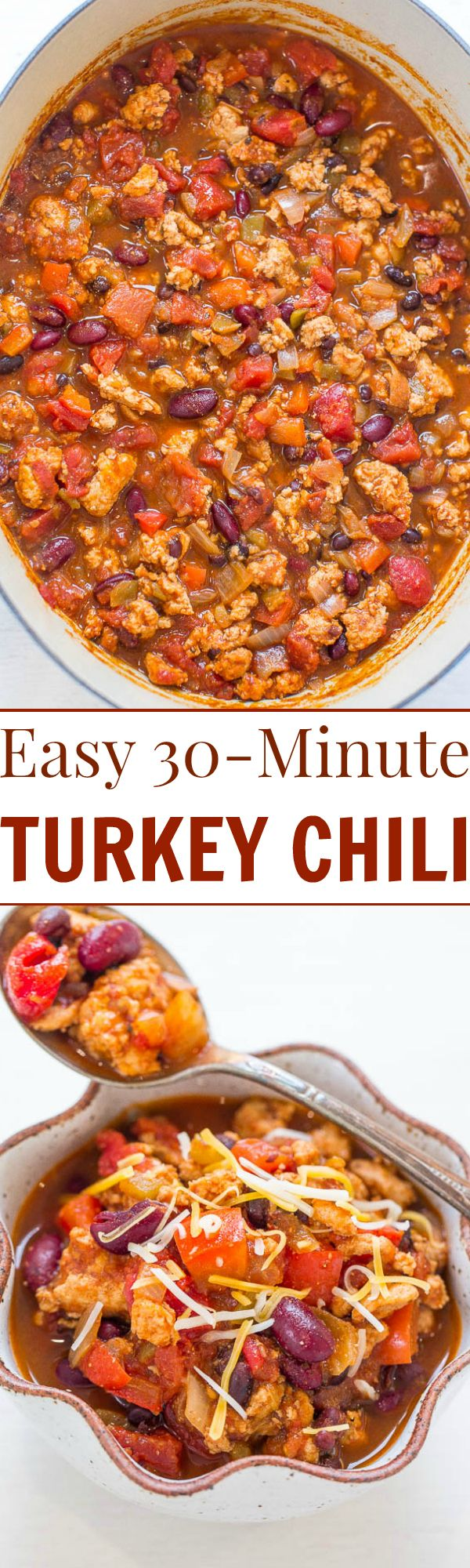 Easy 30-Minute Turkey Chili - Don't have all day for chili to simmer? No problem! This EASY, hearty, healthy chili is ready in 30 minutes and it's full of FLAVOR!! Perfect for busy weeknights!!