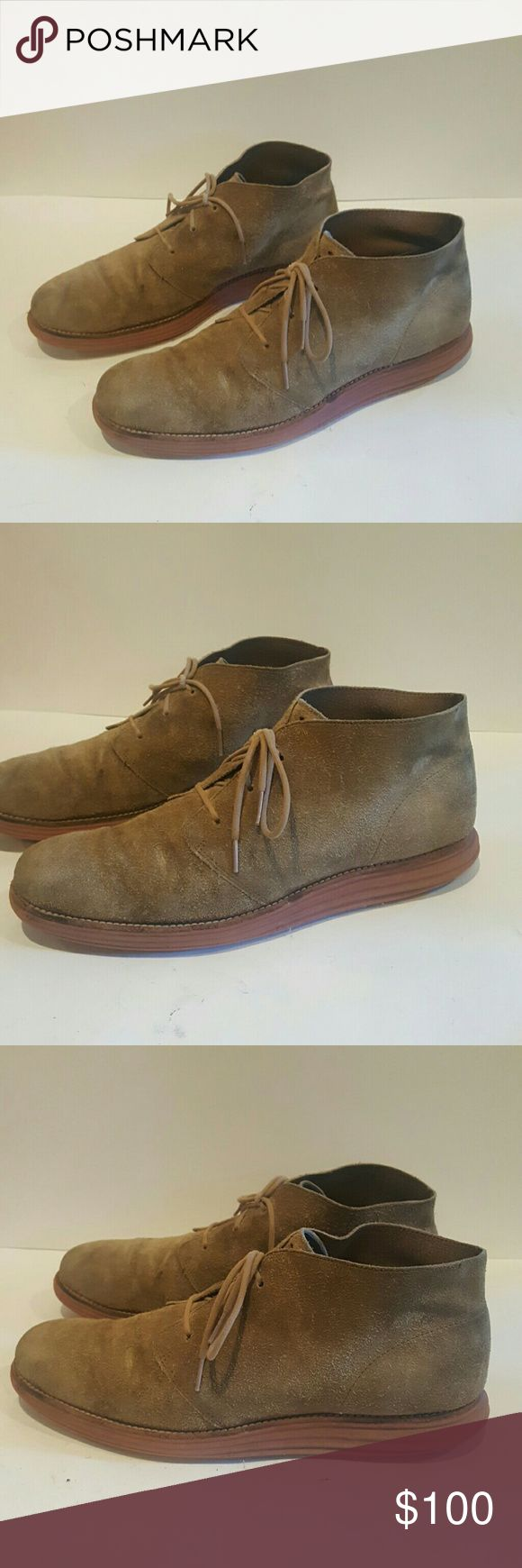 COLE HAAN LUNARGRAND CHUKKA BOOT 11M COLE HAAN LUNARGRAND MENS DRESS SHOES NIKE X COLE HAAN SIZE 11M TAUPE BOOTS HIGH TOP TAN SUEDE KHAKI COLOR BEAUTIFUL GUC PLENTY OF LIFE LEFT RARE COLLAB Cole Haan Shoes Chukka Boots