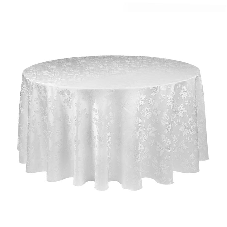 Round Falling Lilies Damask Tablecloth White