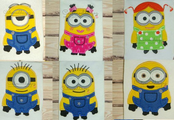 APPLIQUES Minions machine embroidery design files in 2 sizes 4x4 and 5x7 appliques Instant download 6 different designs 2 girls 4 boys
