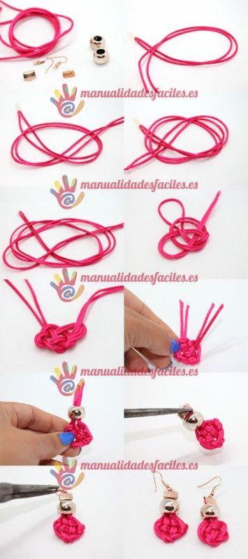 Pendientes nudo de cordón de seda|Manualidades faciles