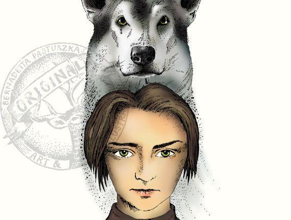 Arya Stark & Nymeria, Game of Thrones fan art