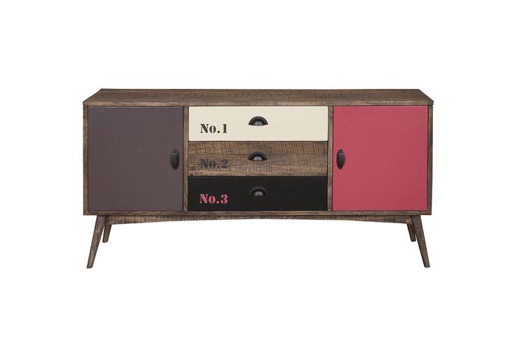 Vintage rock Buffet - Έπιπλο μπουφέ από μασίφ ξύλο μάνγκο  Διαθέτει 2 ντουλάπια και 3 συρτάρια (με οδηγούς)
