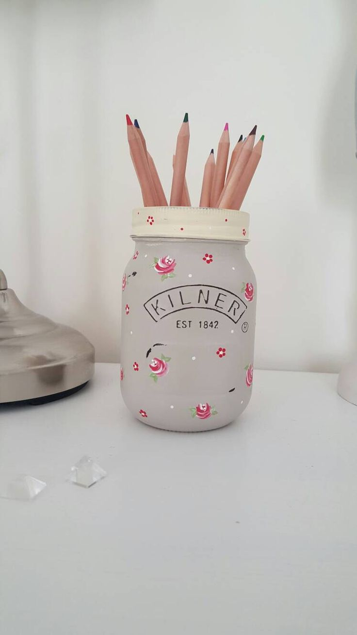 Hand Painted Kilner Jar With Vintage Roses and Dot Daisies In A Distressed Finish by LavenderBlueCrafts on Etsy https://www.etsy.com/uk/listing/286063543/hand-painted-kilner-jar-with-vintage
