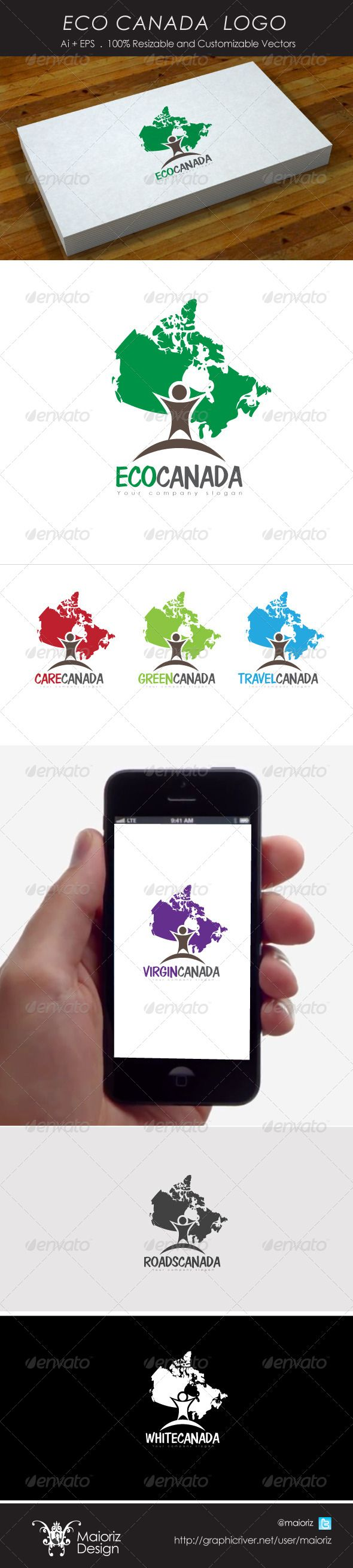 Eco Canada Logo — Vector EPS #north #airplane • Available here → https://graphicriver.net/item/eco-canada-logo/4212619?ref=pxcr