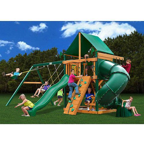 Walmart+Swing+Sets+Clearance | Gorilla Playsets Mountaineer Deluxe Cedar Wooden Swing Set