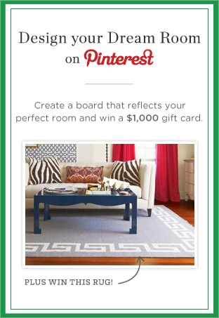 Win this rug and a gift card to shop our site by entering our Design Your Dream Room contest on Pinterest! For details, click here: https://www.onekingslane.com/brands/designisneverdonecontest/: Current Projects, Lane Pinterest, Dreams, Gift Cards, Pinterest Contests, Dream Rooms