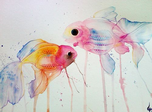 Watercolors fishes. can't decide if it's creepy or pretty, something about the eyes...