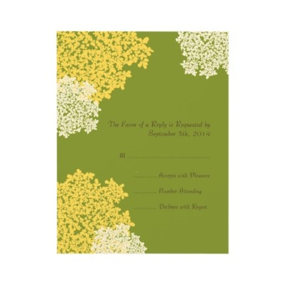 Green & Yellow Queen Anne's Lace Wedding RSVP  Green, Cream, and Yellow Flowers Wedding RSVP  This beautiful wedding invitation features graphic images of Queen Anne's Lace flowers in cream and yellow colors against a celery green background. Customizable text allows you to use this lovely invitation for any event you are having! Matching Invitations also available in my shop!